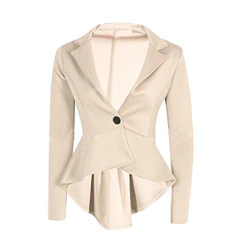 Resplend Neuer Damen Damen Crop Coat Knopf Unregelmäßige Kleine Anzugjacke Slim Jacket Blazer Mit Schalkragen (Beige, L)