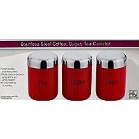 Prima Set di barattoli contenitori per tè, caffè e zucchero, con coperchi lucidi, colori disponibili: rosso, nero, panna o argento Rosso