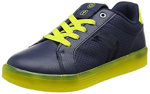 Geox J Kommodor B, Sneakers Basses Garçon, Bleu (Navy/Lime), 31 EU
