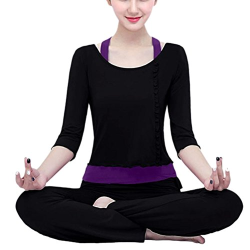 Zhhlaixing Three-piece Athletic Yoga Set Sportwear Womens Comfortable Fitness Tracksuit Black