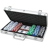 Juego de 300 fichas (11,5g) de CQ Poker con maletín de aluminio