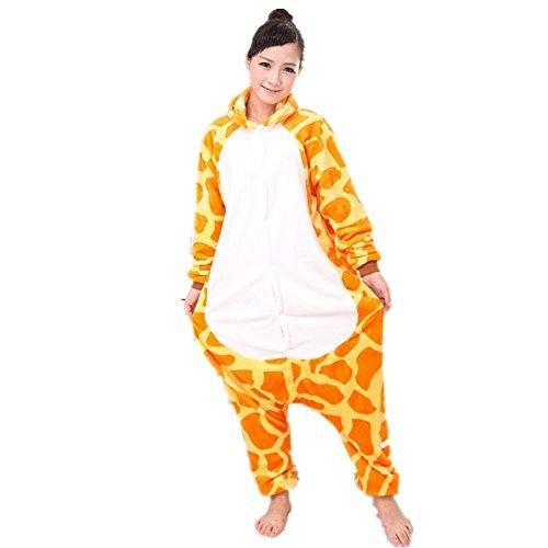 Misslight giraffa animali pigiama unisex cosplay carnevale costume pigiami camicie da notte per adulti e bambini (m, giraffa)