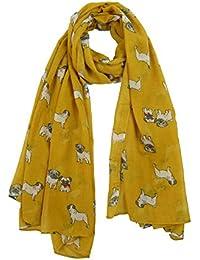 8f7593710 Claudia & Jason Animal Print Scarf Pug Dogs Large Size All Seasons Scarf  Gift Idea for