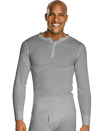 Heather Grey Thermal (Hanes X-Temp Men`s Thermal Henley, 14510, S, Heather Grey)
