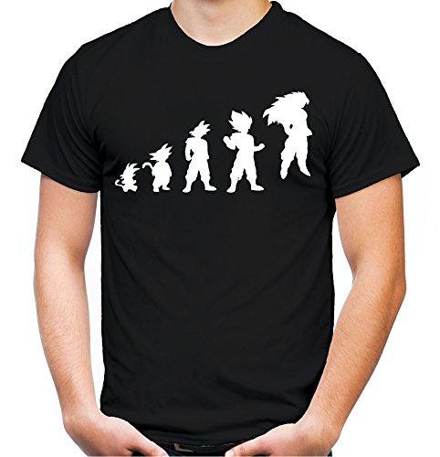 Evolution Son Goku T-Shirt | Dragonball-Z | Super | Vegeta | Saiyajin | Herren | FB (L, Schwarz)