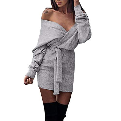 Btruely Kleid Damen Elegant Mädchen Trägerlos Partykleid Lose Cocktailkleid Langarm Abenkleid Vintage Minikleid Hohe Taille Kleid Böhmen Kleid