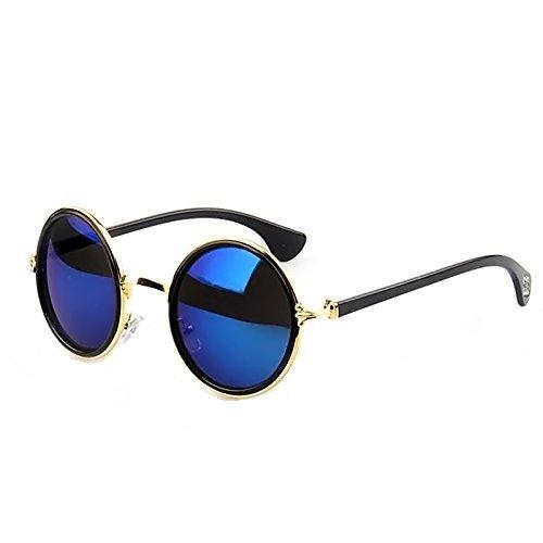 Vococal - 1 Coppia Occhiali da Sole Tonalità - Lente Specchio,Cerchio Intorno Retrò,Telaio in Metallo per Donne Uomini Unisex,Blu