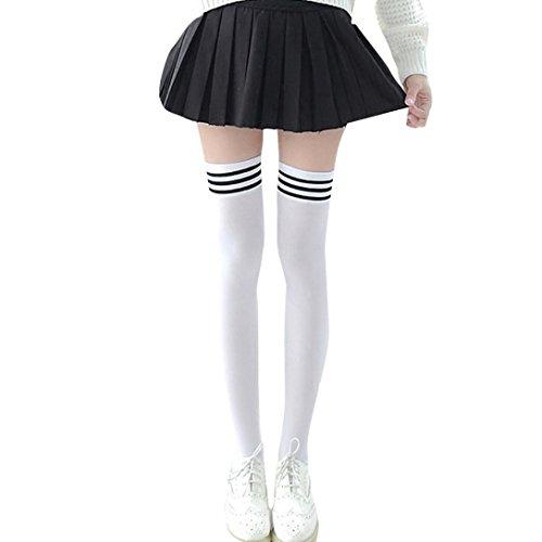 LeeY 1 Paar Gestreifte Schwarz& weiß Kniestrümpfe Damen über Knie-Lange Overknee Überknie Strümpfe cosplay Kostüm Mädchen Frauen College Wind Schenkel hohe Socken Overknee Strümpfe (Weiß, 43cm)