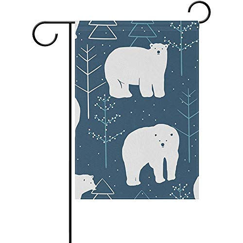 Mesllings North Pole Polar Bear Decorative Garden Flagge Banner Polyester Welcome Seasonal Indoor Outdoor 12