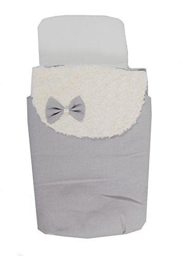Saco Capazo 3 USOS- Carrito bebe ( Saco + colchoneta + Colcha ) .Serie Dobby gris .Color gris