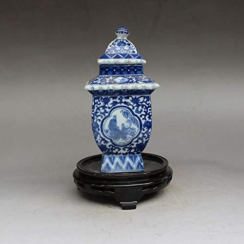 Fashion158 Porzellan Qing Emperor Qianlong Keramik blau und weiß Porzellan Tower Cover Dosen Teedosen Wohnzimmerdeko -