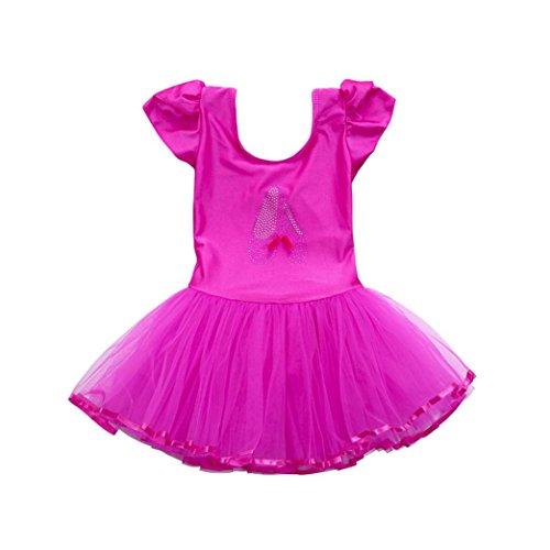 Baby Balletkleid, Squarex Trikot aus Gaze für Mädchen, Ballettbody, Tanzkleid, Tanz-Outfits, Kinder, hot pink, 4-5 ()