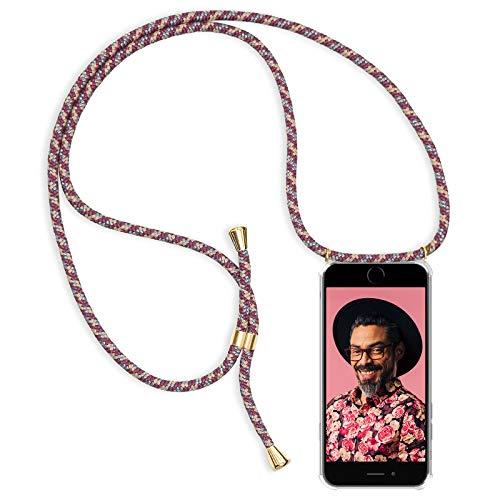Zhinkarts Handykette kompatibel mit Apple iPhone 6 / 6S - Smartphone Necklace Hülle mit Band - Schnur mit Case zum umhängen in Bordeaux/Rot Camouflage