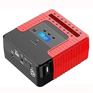 Arrancador de Coches Powerbank Jump Starter (hasta 6, 0L Gasolina o 4, 0L Diesel), 300A 12000mAh 12V IP68 Impermeable con Pantalla LCD Bomba de Aire Carga Rápida USB Linterna LED