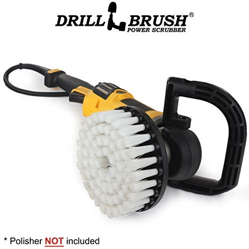 Rug - Carpet Cleaner - Stain Remover - Scrub Brush - 7in - Soft White - 7/9 inch - Variable Speed Polisher - 5/8 x 11 Threaded Hub - Wood - Furniture - Upholstery - Leather Cleaner - Floor Scrubber - Orbital Action Sander
