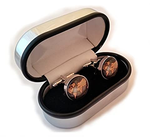 World/Earth Cufflinks and Cuff link presentation box (World 8)