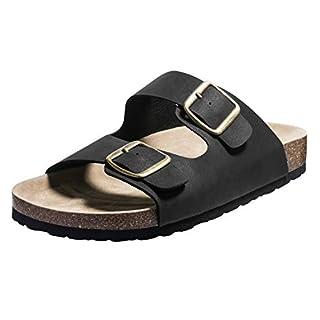 FITORY Herren Pantoletten Sommer Flach Sandalen mit Fußbett Gr.41-46
