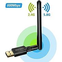 Adaptador Antena WIFI USB de Largo Alcance 600Mbps de Victsing, wifi Adaptador Inalámbrico,Dual Band (5GHz 433Mbps / 2.4GHz 150Mbps) Con Antena 5dBi,Dongle Wifi,mini Receptor para Windows XP/Vista/7/8/8.1/10 MAC OS Linux