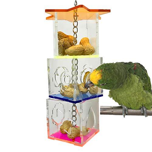 FBGood Mangeoire à Oiseaux Mangeoire Innovante pour Oiseaux de Compagnie Distributeur Suspendu, Accessoires Acryliques pour Oiseaux de Compagnie Toy Perroquet Jouet à Suspendre Oiseau (Multicolore)
