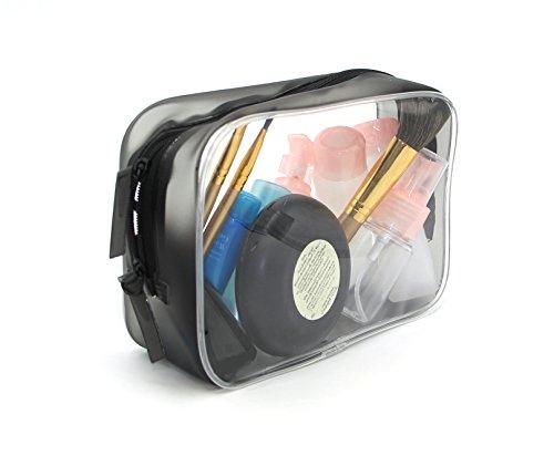 HOYOFO étanche en PVC transparent de voyage Trousse de toilette maquillage Sac pour produits de toilette Black M