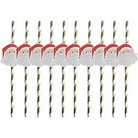 Pajitas de papel BESTONZON 10 piezas para Navidad, boda, fiesta de cumpleaños (sombrero de Navidad)