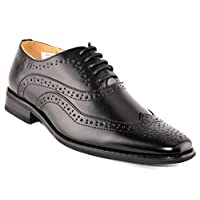 Boys Leather Lined Lace Up Wedding Smart Brogues Black Formal Shoes Size 13-5