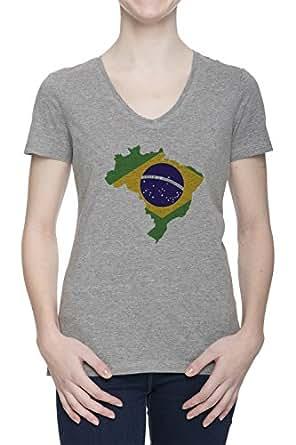 Brazil map flag women 39 s grey v neck t shirt top all sizes for Womens brazil t shirt