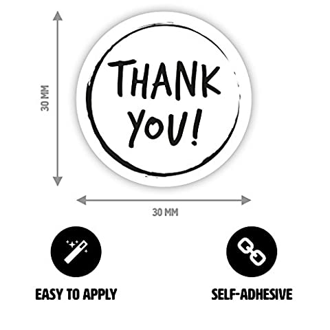 50 x Thank you Sticker Set - Thank you Labels - for Gift Wrapping, Party Bags, Boxes, Envelopes - Black and White (round, Ø