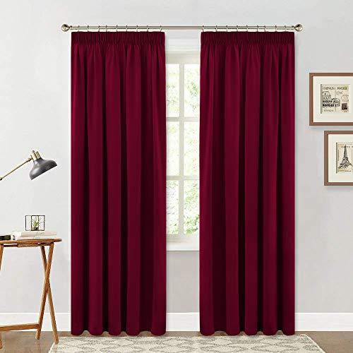 Verdunkelung Rot - Blickdichter Vorhang mit Kräuselband Gardinen Blickdicht Vorhänge Wohnzimmer Thermo Gardinen Schlafzimmer, 2er Set H 245 x B 140 cm ()