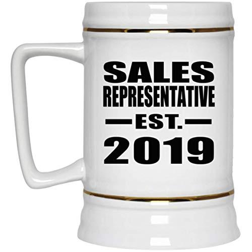 Sales Representative Established EST. 2019-22oz Beer Stein Bierkrug Keramik Bierhumpen Bar Becher Kneipenkrug - Geschenk zum Geburtstag Jahrestag Muttertag Vatertag Ostern Sale Vintage Milk Glass