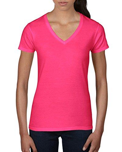 Amboss Damen V Hals Fashion T-Shirt Hot Pink