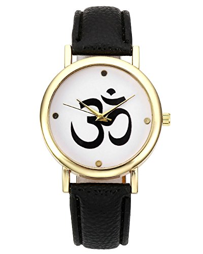 JSDDE Unisexe Montre Bracelet Yoga Sanskrit Om Quartz Boîtier Or PU Cuir (Noir)