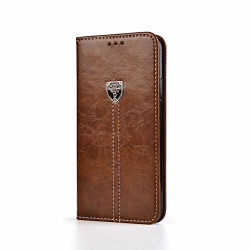 D-Kandy for Motorola Moto X Play, Leather Flip Wallet Case Stand with Card Holder, Magnetic Closure Cover for Motorola Moto X Play - Brown
