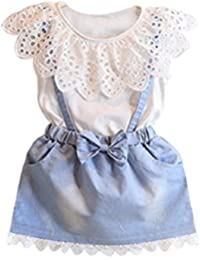 Internet Baby Kids Girls Dress Princess Party Denim Flower Tutu Dresses for 2-7 Years Old