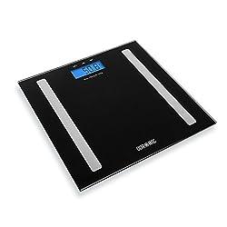 Duronic BS501 Digitalwaage mit Körperfettanalyse mit Digitalanzeige und weiße Glasoberfläche - bis zu 180 kg/Touchbildschirm