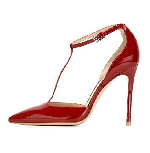 Edefs Damen-barrette Bombas Salto Stiletto Mary Jane Cinta Sapatos Tornozelo Com Fivela Vermelha
