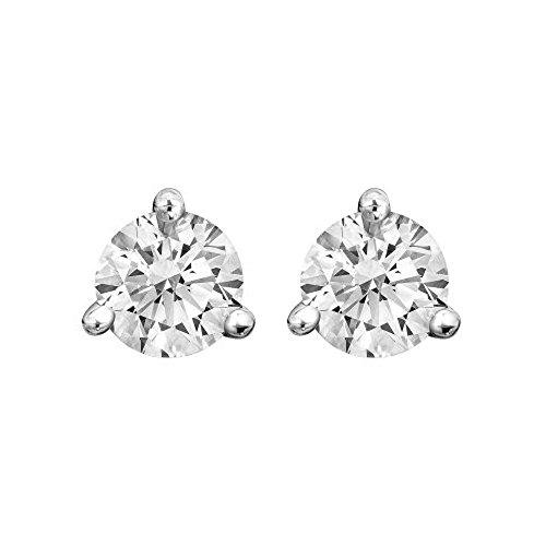 Boucles d'oreilles clous avec diamant rond certifié IGI 3griffes en or blanc 14K (vvs1-vvs2Clarté)