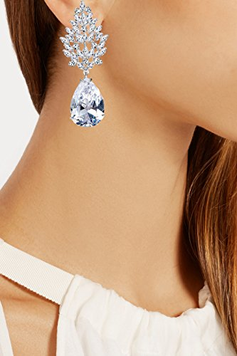 Via Mazzini Silver Brass Plated Genuine Swarovski Elements Drops & Danglers Earring For Women