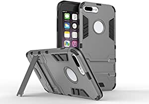 LR Armor Double Protection Case Cover With Kickstand , Made from high Quality Polycarbonate and Rubber Material, All buttons and jacks are accessible through the cutouts., Dual layer protection for your APPLE IPHONE 7 Plus (Gray )