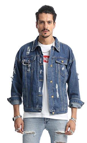 Pizoff unisex Hip Hop Jeansjacke aus Denim in auffälliger Distressed-Optik verwaschenem mit Reißverschlussmanschetten Metallring Rot Gotik Stickerei...