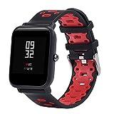 JiaMeng Ligera de Pulsera de Silicona Wristband Pulsera de Repuesto para Amazfit Bip Youth Watch(Negro + Rojo)