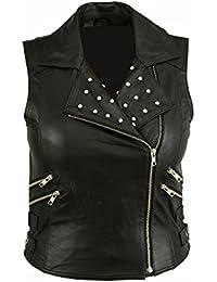 c7a7e204bb LeatherTeknik Chaleco de piel suave para mujer
