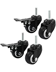 Uxcell a14071600ux0660 Shopping Wheel Trolley Brake Swivel Caster, 1.5-Inch, Black, 4-Piece