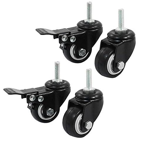 Sourcingmap a14071600ux0660 1,5 cm de courses 4 roues pivotantes pièces (Noir)