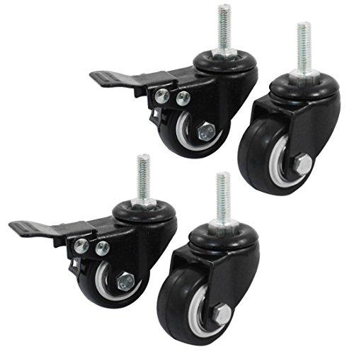 Sourcingmap Rollen für Einkaufswagen a14071600ux0660, ca. 3,8cm, mit Bremse und Lenkrolle-Schwarz (4Stück)