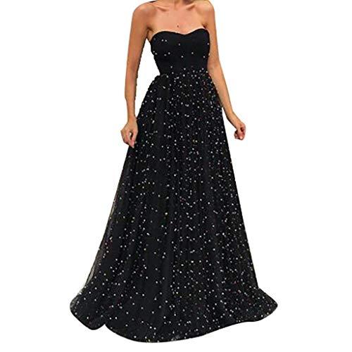 Amuse-MIUMIU Western Women Mixi Dress,Women Sexy Black Strapless Beading Mesh Long Party Elegant Gown Dress Skater Bodycon A-Line Western Party Fancy Dress for Women/Girl/Lady Strapless Formal Gown