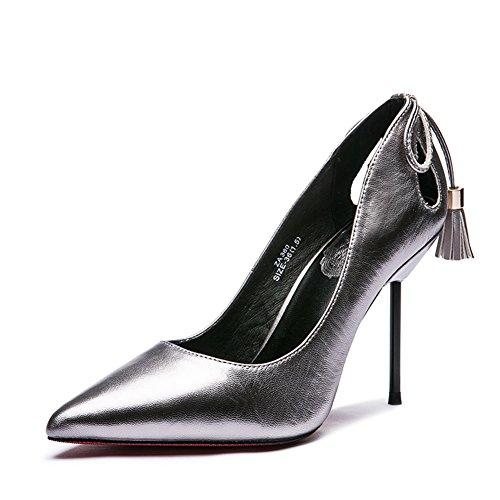 Lady asakuchi a fait des chaussures au printemps/Jurchen cuir noir talons chaussures à talon A