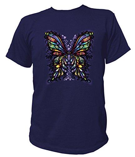 Artdiktat Herren T-Shirt - BUTTERFLY WINGS Größe L, navy