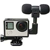 External Microfono con Mic Adattatore Standard Frame Kit Fit per GoPro Hero 4 3 Plus 3