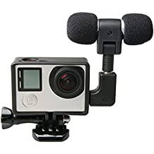 Rishil World External Microphone with Mic Adapter Standard Frame Kit Fit for GoPro Hero 4 3 Plus 3